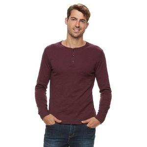 Apt 9 Burgundy Red Longsleeve Henley Shirt Tee Med